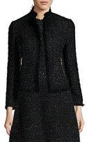 Kate Spade Open-Front Shimmer Tweed Jacket, Black