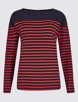 Marks and Spencer Cotton Rich Striped Long Sleeve Sweat