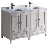 "Oxford 48"" Double Bathroom Vanity Set Fresca Base Finish: Antique White"