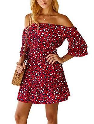 MissyLife Women Stylish Leopard Pattern Off The Shoulder Ruffle Sleeve Elastic Waist Band A-Line Short Dress (