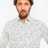 Paul Smith Men's Tailored-Fit 'Floral Heart' Print Cotton 'Artist Stripe' Cuff Shirt