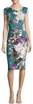 Black Halo Jackie Floral-Print Sateen Sheath Dress, Water Bloom
