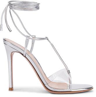Gianvito Rossi Plexi Strappy Heels in Silver & Transparent | FWRD