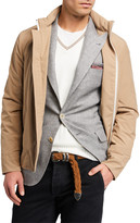 Brunello Cucinelli Men's Hidden-Hood Technical Bomber Jacket