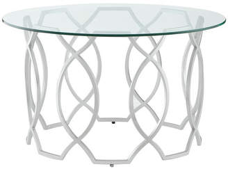 Nicole Miller Inspired Home Aziz Coffee Table, Round Clear-Glass Top/Metal Frame, Si