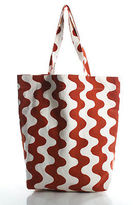 Roberta Roller Rabbit Orange White Abstract Print Large Tote Shoulder Handbag