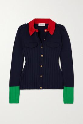 Wales Bonner Goto Color-block Ribbed-knit Cardigan - Navy