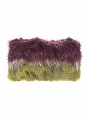 Dries Van Noten Faux Fur-Trimmed Leather Clutch Black