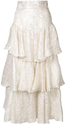 Bambah Gold Lame Ruffle Skirt