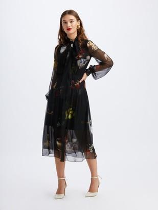 Oscar de la Renta Chiffon Chiaroscuro Scarf Midi Dress