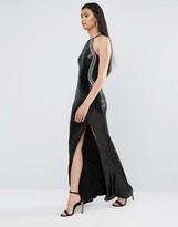 TFNC Sequin High Neck Maxi Dress With Split