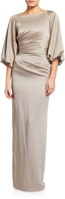 Theia Satin Bateau-Neck Raglan Balloon-Sleeve Column Gown