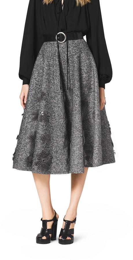 Embroidered Herringbone Wool Skirt