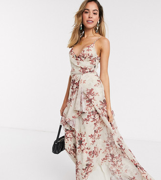 ASOS DESIGN soft layered maxi dress in rustic floral