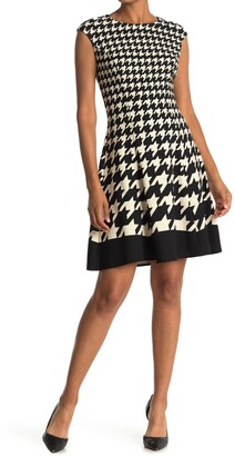 London Times Houndstooth Fit & Flare Dress