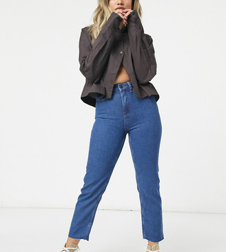 Noisy May Petite straight leg jeans in authentic dark blue wash
