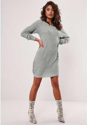 Missguided Ayvan Off Shoulder Jumper Dress - Light Grey