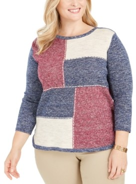 Alfred Dunner Plus Size Autumn Harvest Colorblocked Top