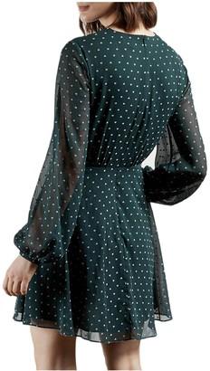 Ted Baker Long Sleeve Heart Print Mini Dress - Green
