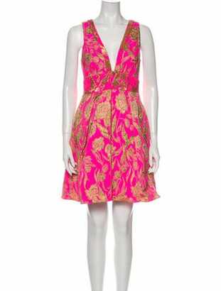 Marchesa Notte Floral Print Mini Dress Pink