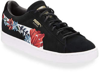 Puma Floral Embroidered Suede Low-Top Sneakers