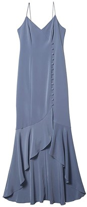 Adrianna Papell Crepe Wrap Dress w/ Button Detail (Dusty Blue) Women's Dress