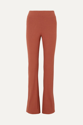Calé cale - Angelique Ribbed Stretch-jersey Flared Pants - Brown