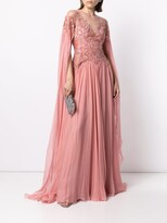 Thumbnail for your product : ZUHAIR MURAD Embellished Flyaway Chiffon Cape Gown