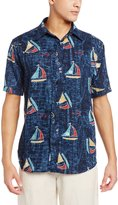 Margaritaville Men's Short Sleeve Sailboats Print BBQ Shirt