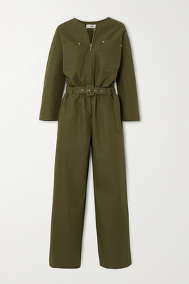 Frankie Shop Eve Belted Cotton-blend Jumpsuit - Army green