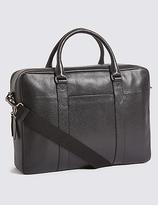 M&S Collection Pebble Grain Leather Double Zip Briefcase