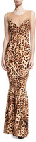 Norma Kamali Sleeveless Leopard-Print Combo Fishtail Gown