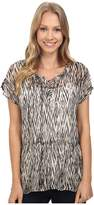 Lucky Brand Ikat Peplum Top Women's Short Sleeve Pullover