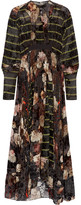 Preen by Thornton Bregazzi Audrey Printed Devoré Silk-blend Chiffon Maxi Dress - Black