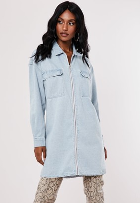 Missguided Blue Zip Through Utility Denim Shirt Dress