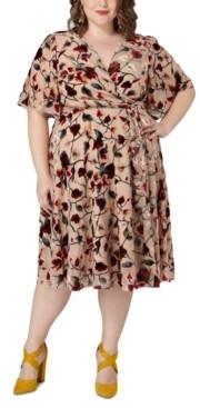 Marée Pour Toi Size Burnout Velvet Floral-Print Wrap Dress