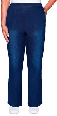 Alfred Dunner Petite Pull-On Straight Leg Denim Pants