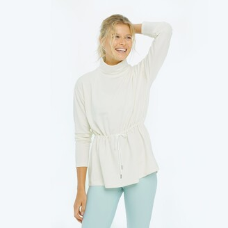 Summersalt The Softest French Terry Cinched Waist Pullover - White Sand