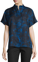 Lafayette 148 New York Reyn Wool/Silk-Blend Top, Black Multi