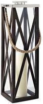 Cambridge Silversmiths Driftwood Cross Wood Frame Lantern- 32in