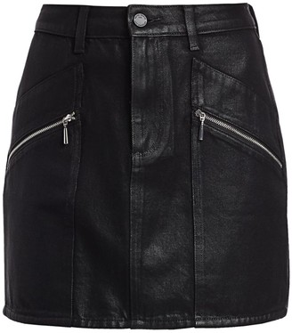 Paige Aideen Coated Denim Skirt