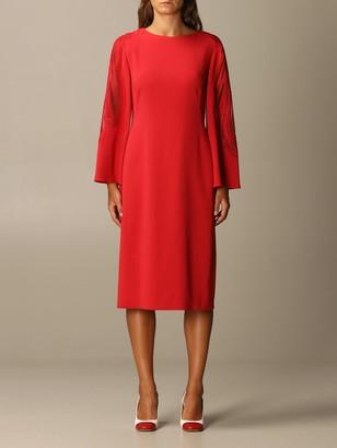Alberta Ferretti Dress Long Sleeve Cady Lace Insert