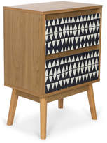 2 Drawer Monochrome Wooden Bedside Table