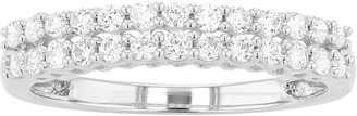Made For You 10k White Gold 1/2 Carat T.W. Lab Grown Diamond Two Row Wedding Band