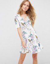 Asos Wrap Skater Dress In Floral Print