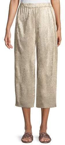 Alice + Olivia x Donald Robertson Elba Plisse Pull-On Cropped Wide-Leg Pants