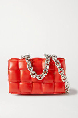 Bottega Veneta Cassette Chain-embellished Padded Intrecciato Leather Shoulder Bag - Red