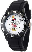Disney Princess Disney Minnie Mouse Womens Black Strap Watch-Wds000260