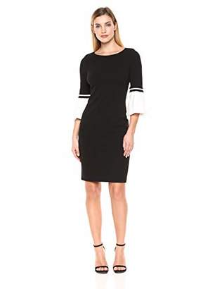 Calvin Klein Women's Color Block Cuff Bell Sleeve Dress
