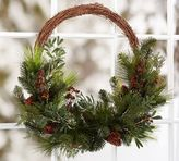 Pottery Barn Oversized Asymmetrical Pine And Berry Wreath